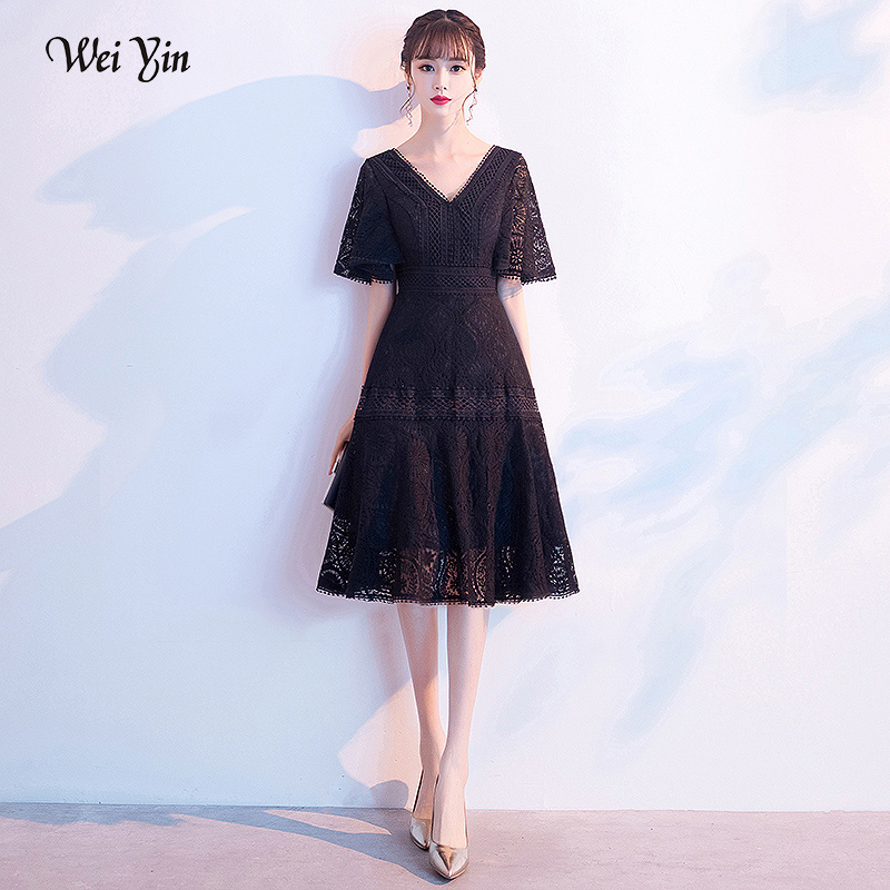 wei yin AE0420 Wedding Party Dress 2020 New Noble Elegant Tea Length Evening Dress V-neck A-Line Prom Party Dresses