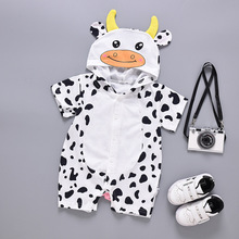 summer cotton baby cow animals romper  new born toddler clothes onesie costume rompers 11.11 for 0M-12M infant cheap stuff