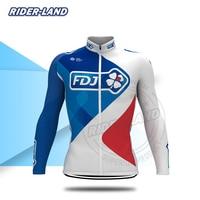 Męskie koszulki rowerowe FDJ z długim rękawem kurtki rowerowe jesienno zimowa droga rowerowa topy ubrania do jazdy rowerem oddychająca szybkoschnąca anty pot w Koszulki rowerowe od Sport i rozrywka na