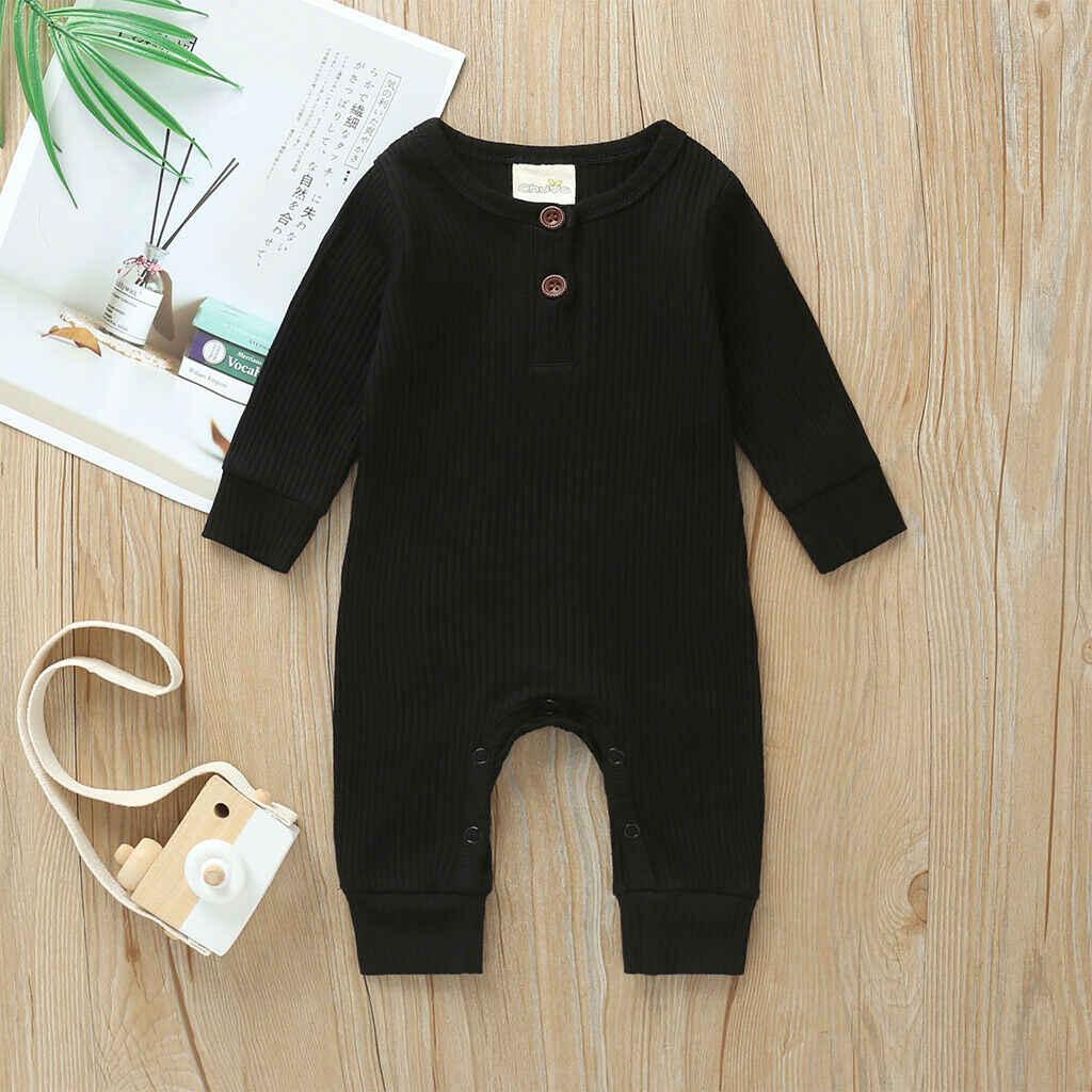 2020 Baby Frühling Herbst Kleidung Neugeborene Jungen Mädchen Baumwolle Strampler Gestrickte Rippen Overall Feste Kleidung Warme Outfit