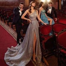 Вечернее платье с одним открытым плечом блестками и высоким