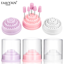 3 Colors 48 Holes Nail Art Drill Bits Empty Storage Box Holder Stand Display Container Manicure Accessories Acrylic Cover Tools