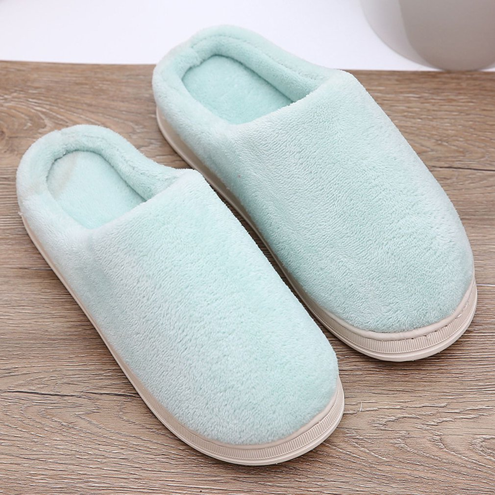 New Solid Color Home Wood Floor Cotton Slippers title=