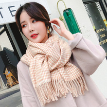 scarf Autumn winter new style scarf classic thousand bird case imitation cashmere checked scarf students long coat shawl outdoor soft checked pattern fringed scarf