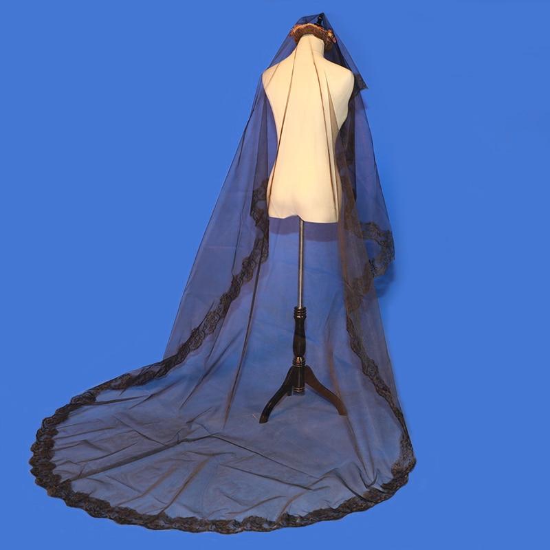One-Layer Black Bride Veil Long Wedding Vail Appliqued Lace Edge Veil Wedding Velo De Novia Largo 3m Veils Bridal