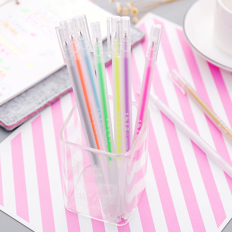 Korean simple color hand pen student small fresh candy color gel pen Creative watercolor hand painted highlighter pen