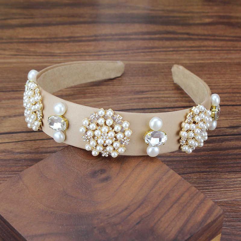 Fashion Women Diamante Headband Pearl Crystal Girl Ladies Headwear Accessories