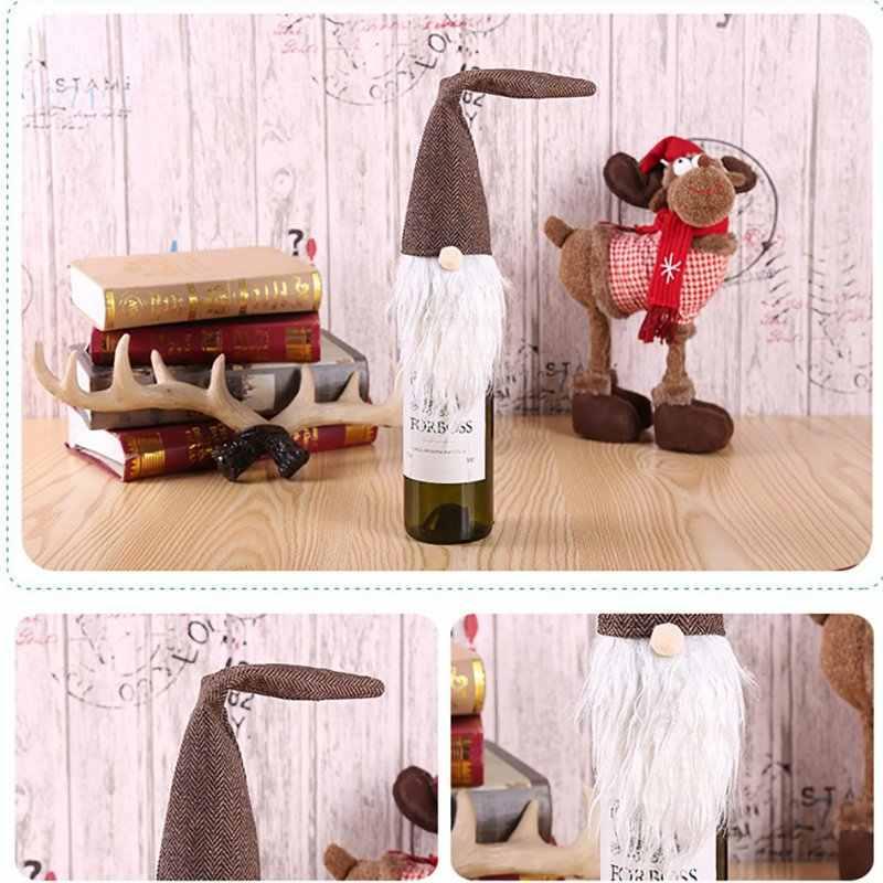 Noel şişe koruyucu ceket noel restoran parti dekorasyon Woodsman şarap şişe kapağı şarap çantası hediye çantası şampanya