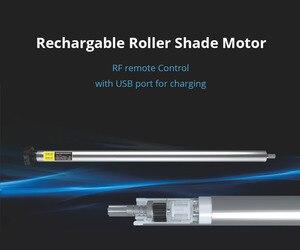 Image 2 - USB Rechargeable Moteur de Store pour 25mm Tube Électrique Motorisé Store Abat Jour RF Télécommande Broadlink Contrôle