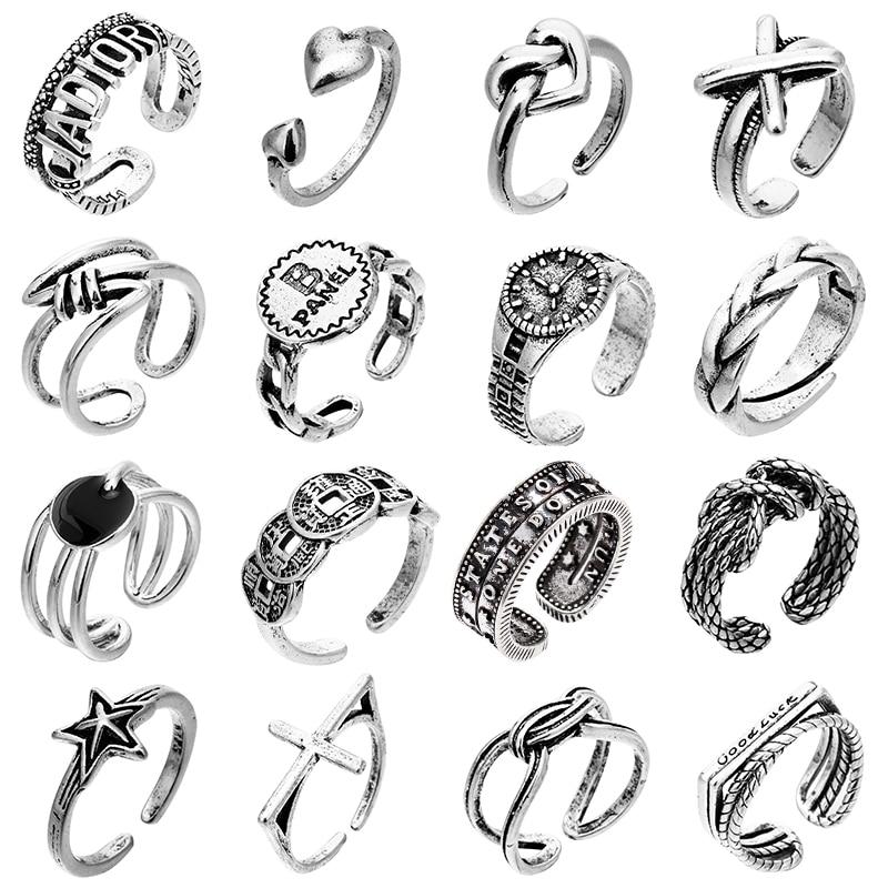 Böhmen Retro Silber Farbe Ring Unisex Offene Einstellbare Tier Schlange Schmetterling Geschenk Für Frauen Finger Ringe Pentagramm Reif
