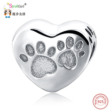 Купить с кэшбэком Fit Authentic Animal Charms Fit  Charm bracelets Fashion DIY 2018 New Arrival Hot Selling Sterling Silver Dog Paw Beads