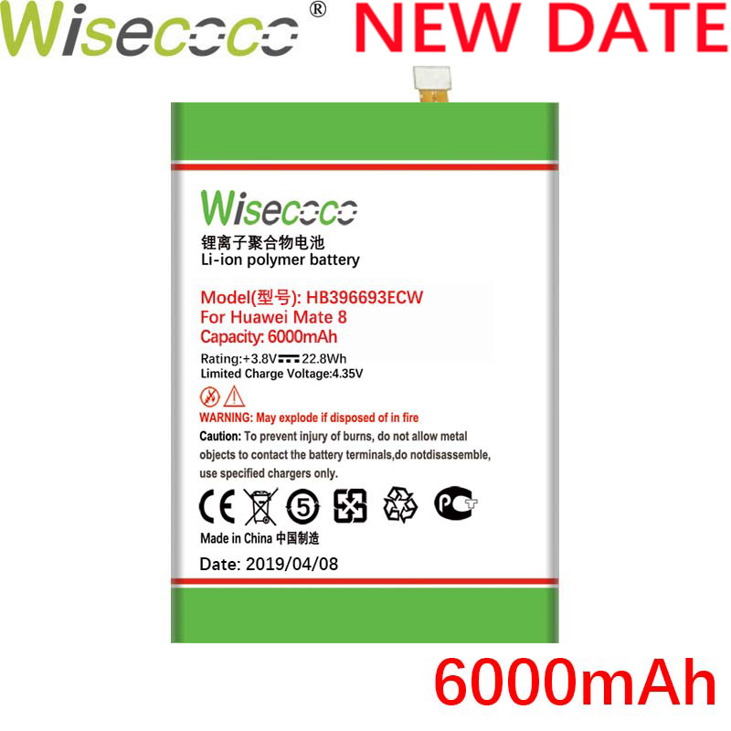 Wisecoco 6000mAh HB396693ECW Battery For Huawei Mate 8 NXT-AL10 NXT-TL00 NXT-CL00 NXT-DL00 mate8 NXT-L09 NXT-L29 Phone