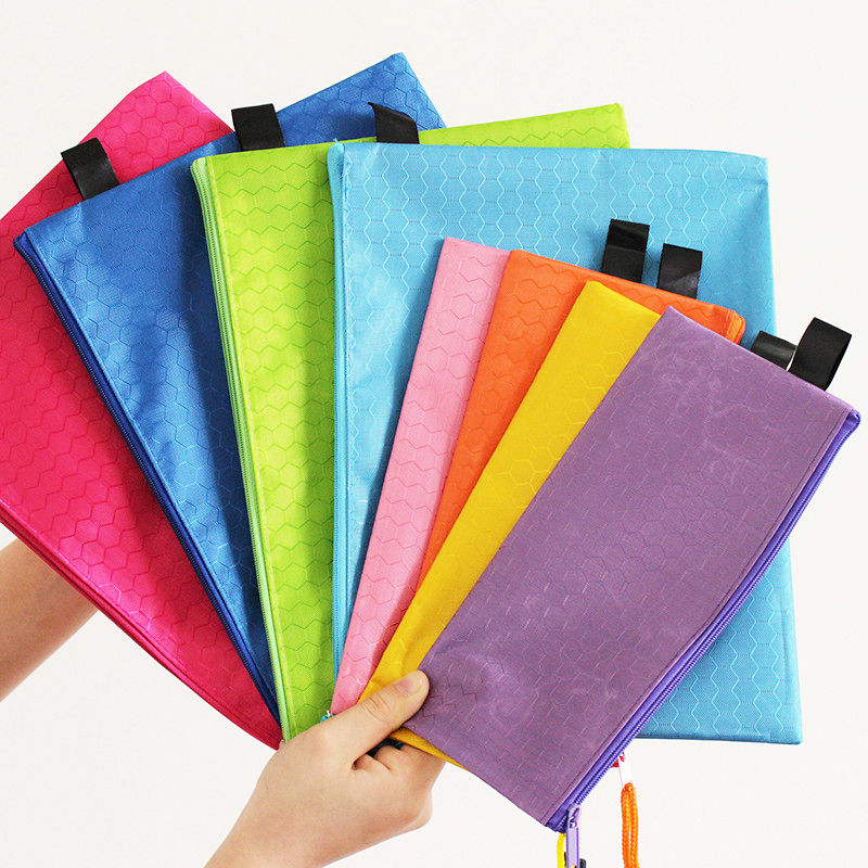 1 Pcs Colorful Single Layer Cloth Supplies Paper Book File File Bags Bag Canvas Case Pen Document Pencil Folder Zipper