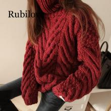 Rubilove womens sweater turtleneck 2019 New Autumn Winter Sweater Women Long Sleeve Pullover Basic Sweaters Knit To