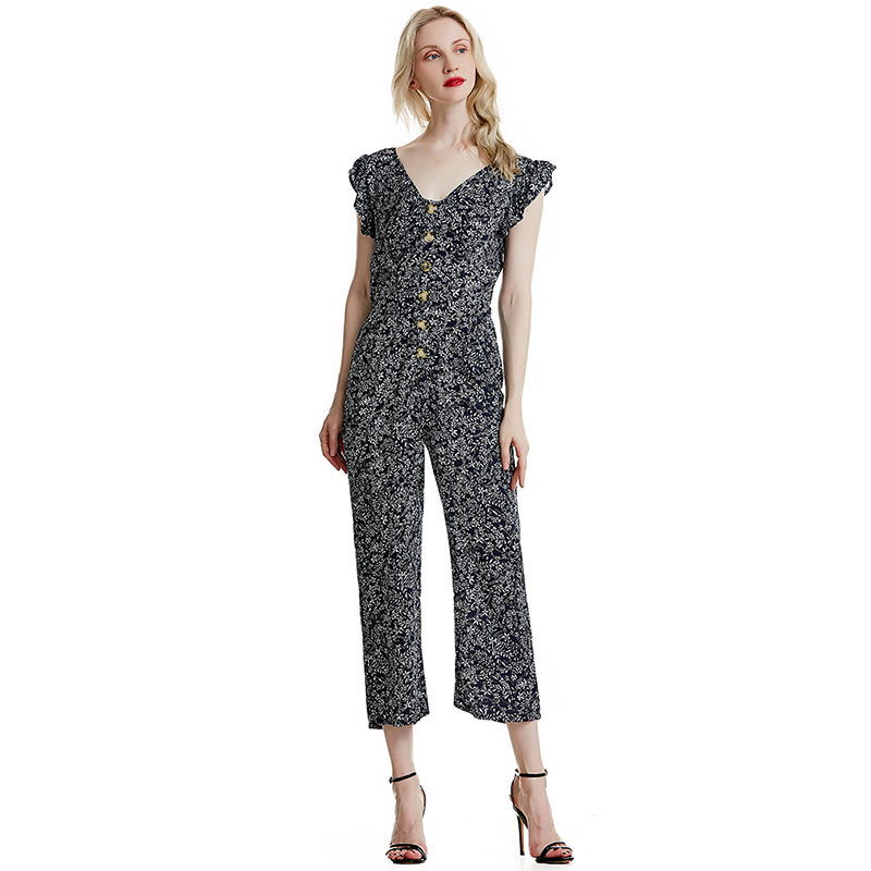 Women Ladies Casual Party Jumpsuit V Neck Floral Bandge High Waist Long Trousers Pants Clubwear Summer Office Lady thumbnail