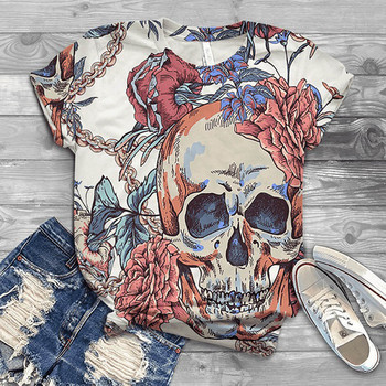 Women T shirt Short Sleeve Oversized Tops Skull Printed Printed O-Neck Tee T-Shirt