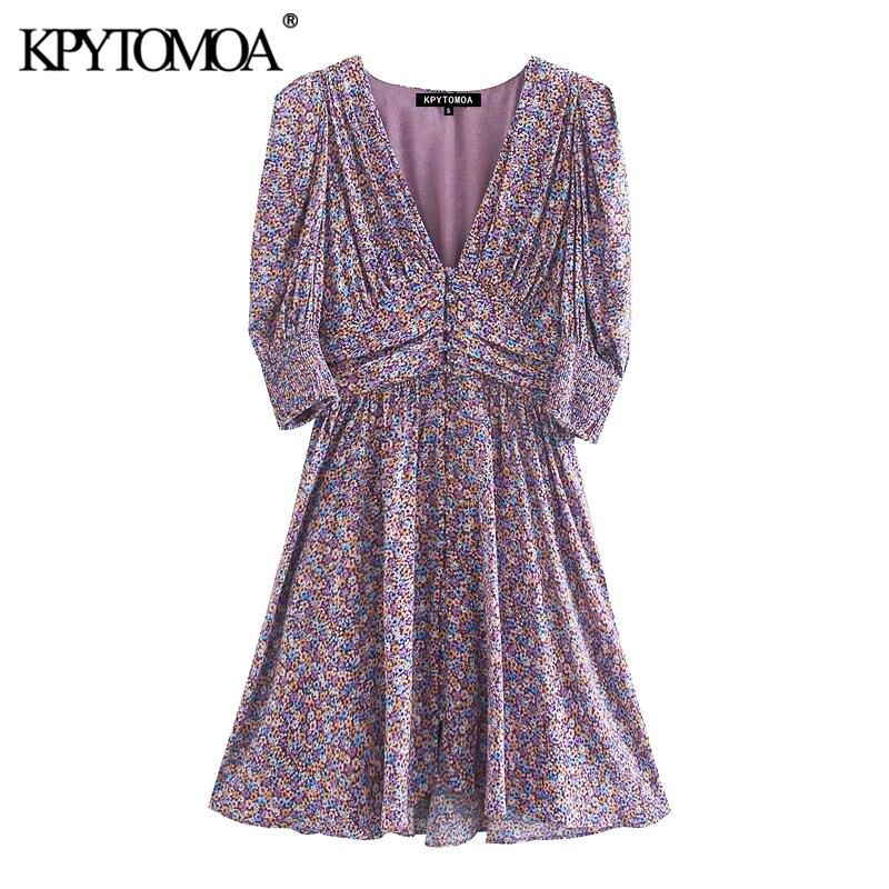 KPYTOMOA Women 2020 Chic Fashion With Shoulder Pads Printed Mini Dress Vintage Short Sleeve Back Elastic Female Dresses Mujer