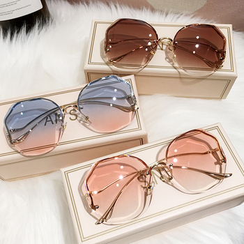 MS 2021 New Women Sunglasses Rimless UV400 Brand Designer High Quality Gradient Sun Glasses Female oculos With Box