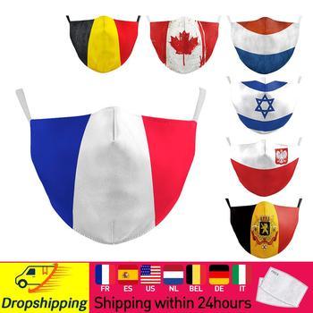 Adult Kids Masks Counrty Flag Mask FR ES NL Printed Face Mask IL Canada Belgium Protective Mask Dustproof Mouth Mask with Filtes