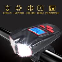 4 modus USB Fahrrad Licht Lampe & Bike Computer 6 Modus Horn Taschenlampe Zyklus Fahrrad Tacho Led Front Lichter Radfahren scheinwerfer-in Fahrradlicht aus Sport und Unterhaltung bei