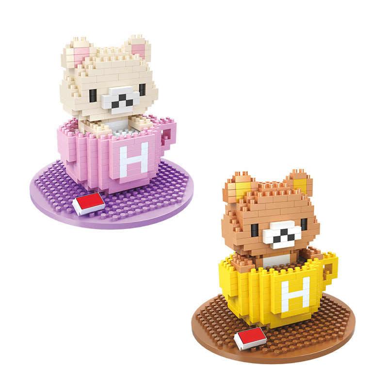 Adorável japão Rilakkuma dos desenhos animados imagem micro nano bricks brinquedos de montar blocos de construção de diamante Xícara de chá urso para presentes