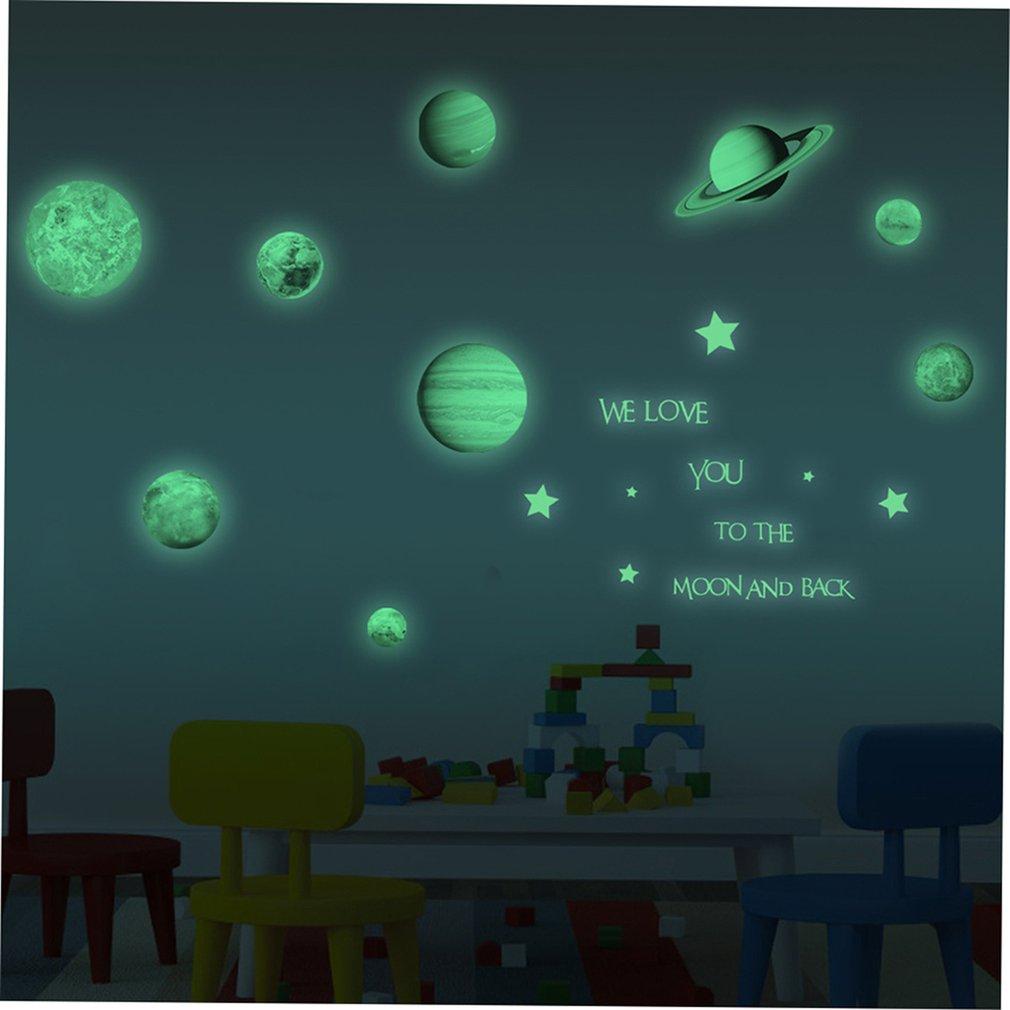Neuf planètes lune lumière autocollant PVC auto adhésif autocollant enfants chambre fond papier peint Design mignon - 5