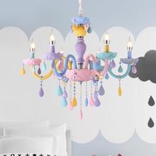 Lampadario di cristallo Macaron di Colore Droplight Bambini Camera Da Letto Lampada Creativa Fantasia della ragazza della principessa Apparecchio lampadari appesi
