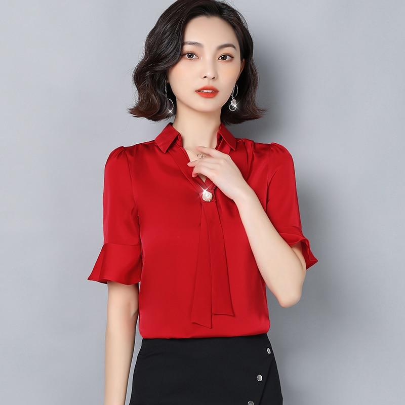 Korean Chiffon Blouses Women V Neck Beading Blouse Shirt Woman Solid Blouses Flare Sleeve Tops Plus Size Blusas Mujer De Moda OL