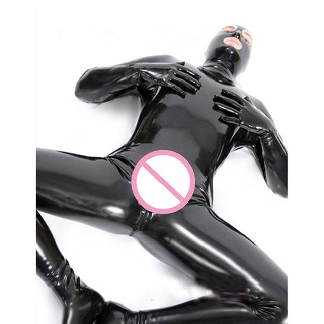 Men Male Latex PVC Catsuit Plus Size 3XL Sexy Wetlook Faux Leather Night Club Full Bodysuit Gay Fetish Erotic Leotard Jumpsuit 2