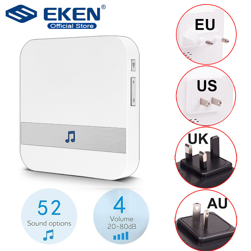 AC 110-220V Smart Indoor Doorbell Wireless WiFi Door Bell US EU UK AU Plug XSH App For EKEN V5 V6 V7 M3