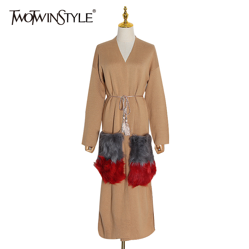 TWOTWINSTYLE Knitting Patchwork Pockets Fur Windbreaker Women Long Sleeve Loose Hit Color Cardigan Female 2020 Fashion Clothing