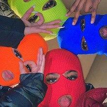 Bonnet à 3 trous pour hommes et femmes, cagoule tricotée chaude pour couvrir tout le visage, randonnée, cyclisme, Ski, hiver, 2021