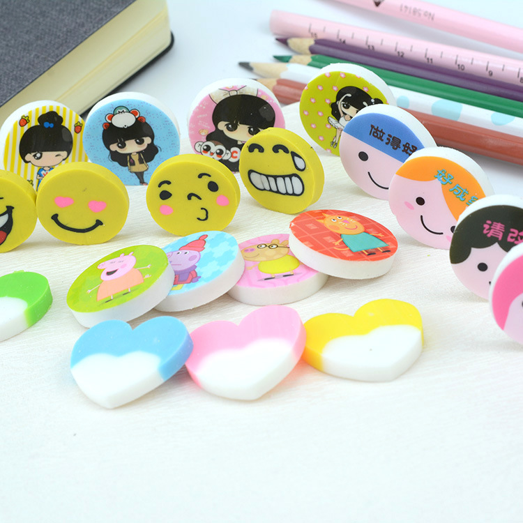 Creative Cute Cartoon Smiley Heart Rubber Eraser Children Students Learning Prizes Stationery Rubber Eraser Customizable