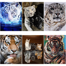 DIY 5D Diamond Painting Animal Diamond Embroidery Tiger Full Cross Stitch Full Round Drill Mosaic Rhinestone Art Wall Home Decor mooncresin diamond painting cross stitch comfortable tiger animal diy diamond embroidery full round 5d diamond mosaic decoration
