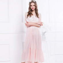 цена на Pyjamas Women Spring And Summer Pink Solid Color Fashion Lace Embroidery Cute Princess Dress Swing Trumpet Sleeve Dress L1501217