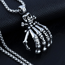 HNSP 316L Stainless steel chain skull hand Pendant necklace for men Punk style male gift