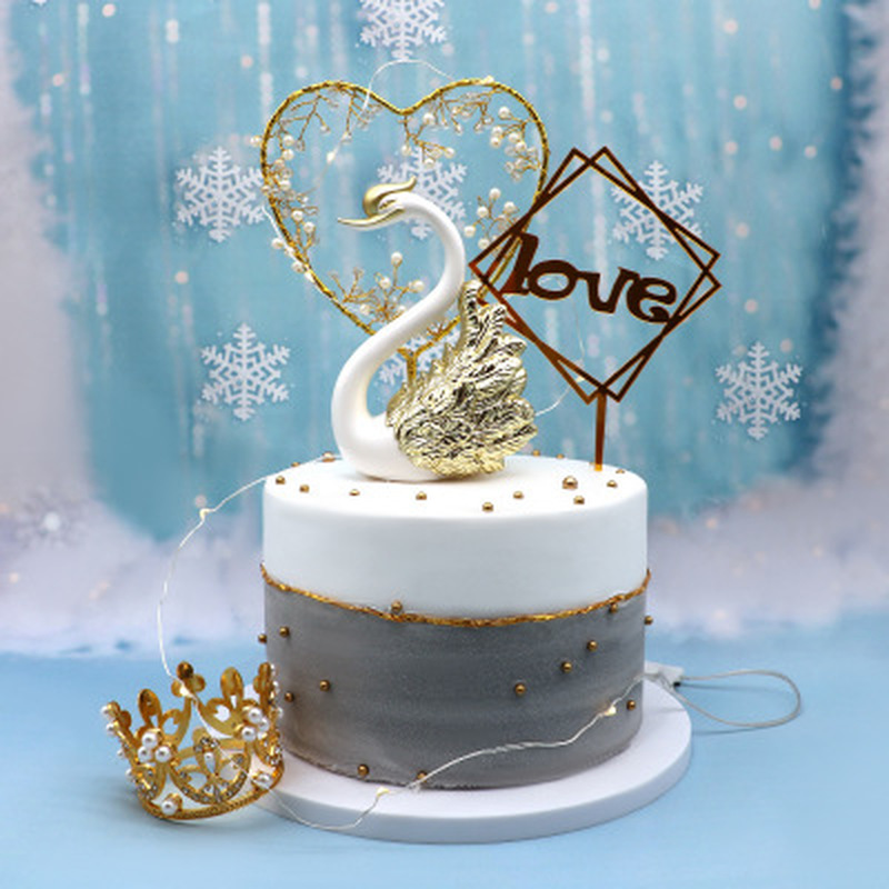Admirable Cake Topper Elegant Swan Cake Topper Valentines Day Wedding Cake Personalised Birthday Cards Veneteletsinfo