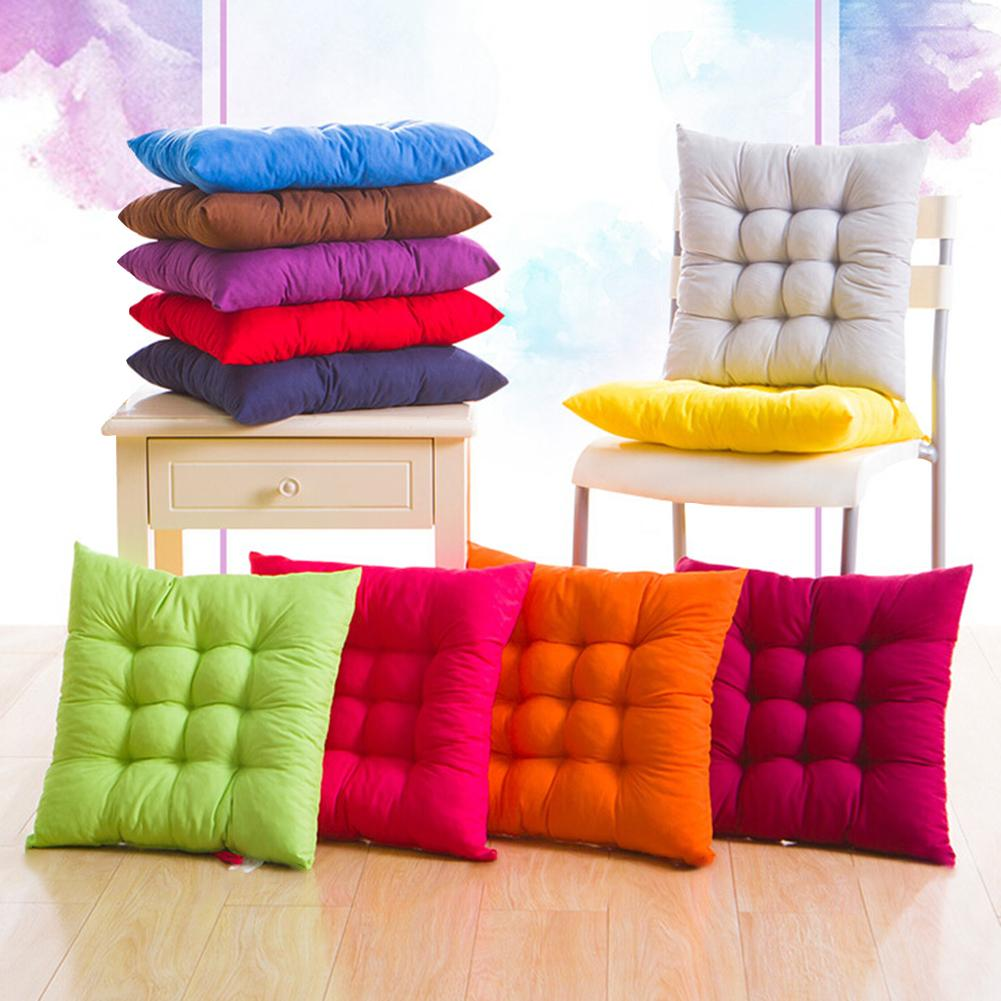 Soft 40x40cm Solid Color Square Soft Cordless Thicken Seat Pad Cushion Dining Room Chair Decor