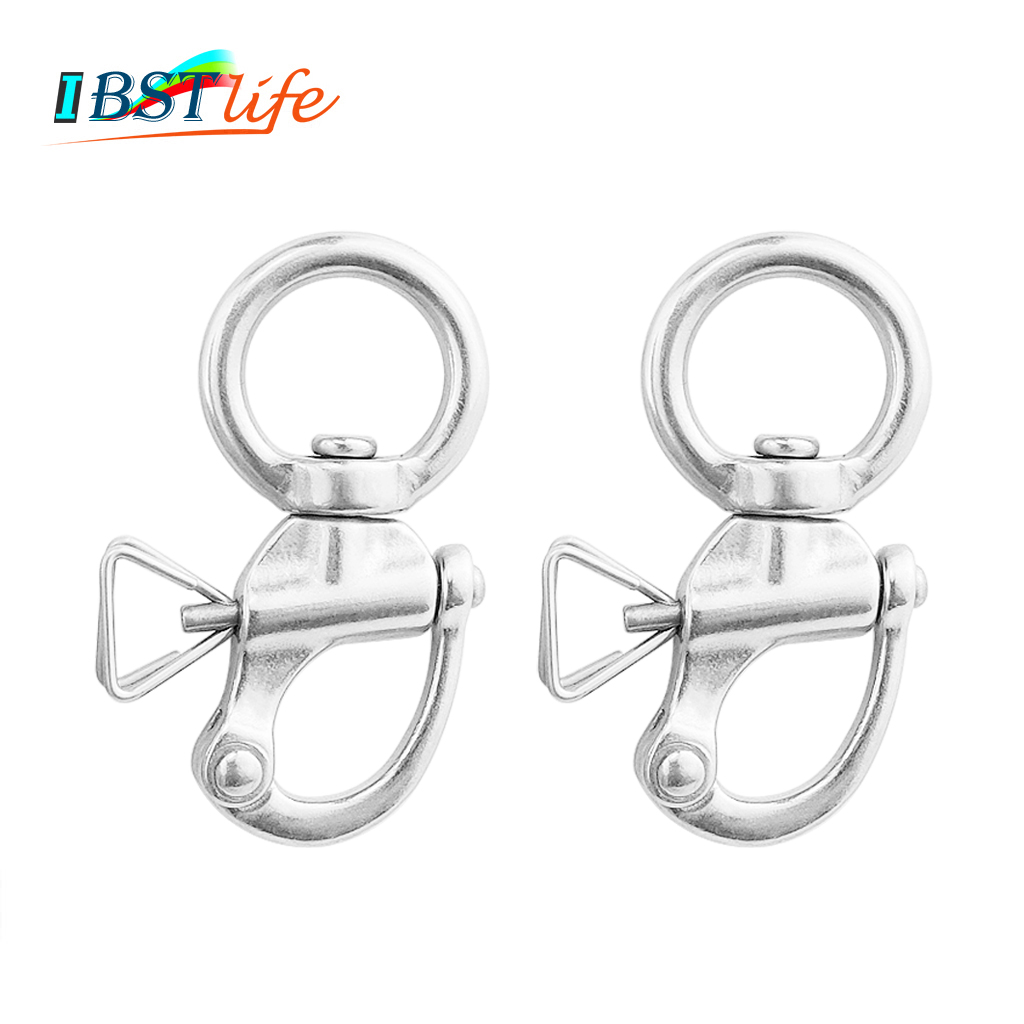 2PCS Round SS 316 Quick Release Swivel Shackle Mayitr Marine Boat Anchor Chain Eye Shackle Swivel Snap Hook Hardware