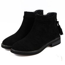 Whoholl Brand Size 30-43 Ankle Winter Boots Height Inceasing Openworkl Zipper Half Short Tassel Botas Women Footwear