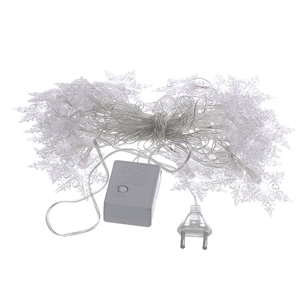 40LED 5M 220C EU Plug Snowflake Shape LED String Light Indoor Outdoor Christmas Holiday Decoration Fairy String Light