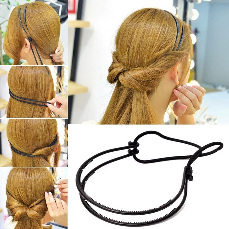 New Double Root Hair Hoop Head Band Adjustable Hair Clips Women Hoop Elastic Rubber Bands Ring Hair Styling Tools Hair Braider