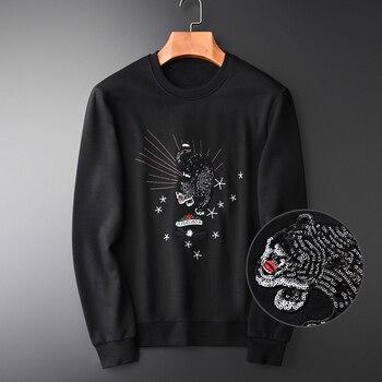 NEW Panther Embroidery Sweatshirts Men Luxury Handwork Sequin Round Collar Sweatshirts For Men Spring Autumn Sweatshirt Male
