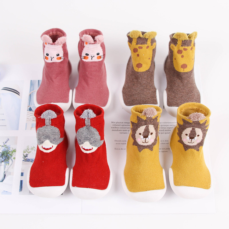 Toddler Baby Knitted Leopard Floor Socks Shoes with Rubber Soles Infant Anti-slip Indoor Socks Newborn Spring Summer Autumn 3