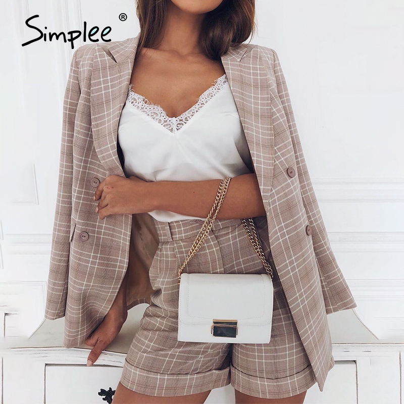 Simplee Two-piece Women Plaid Blazer Suit Double Breasted Streetwear Female Blazer Shorts Set Elegant Office Ladies Blazers Sets