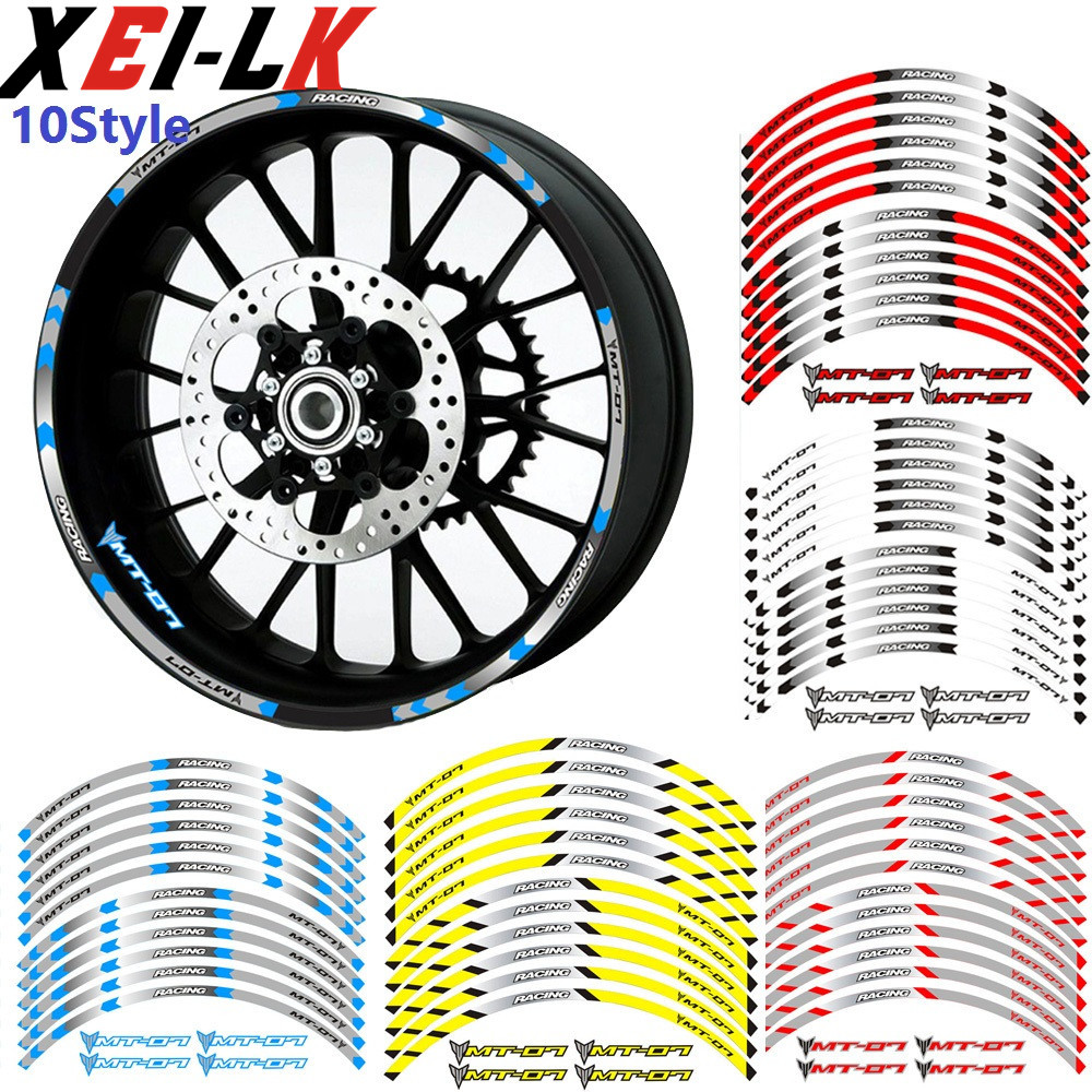 XEILK High Quality 4 Colors For Yamaha MT-07 MT07 MT 07 Motorcycle Wheel Decals Reflective Sticker Waterproof Rim Stripes Bike