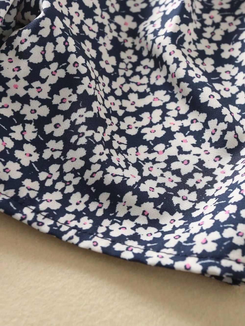 Bazaleas, vestidos elegantes con estampado de flores azules de Francia, vestido Wray para mujer, vestido Vintage de manga corta, vestidos por debajo de la rodilla Retro Gabin