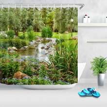 Садовое дерево Цветочный пруд природа пейзаж занавеска для душа