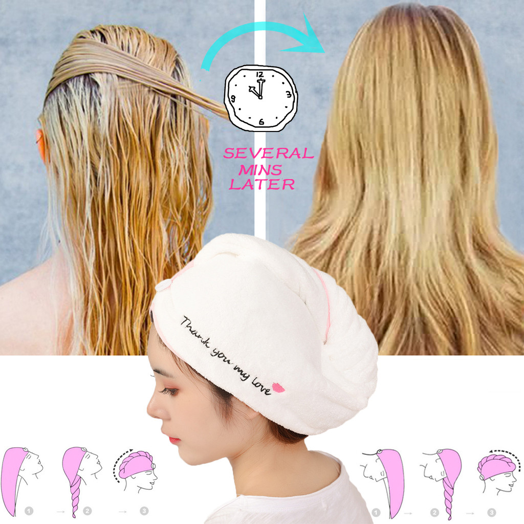 Rapided Drying Hair Towel Quick Dry Hair Hat Wrapped Towel Bathing Cap Super absorbent smiley love absorbent dry hair towel