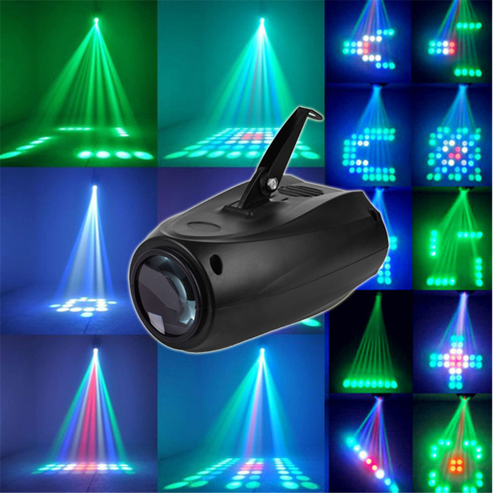 20W Mini Stage Lights 90-240V 64LEDs New Home Entertainment Disco DJ KTV Club Party Show Patterned Beam Laser Equipment Lights